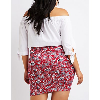 Plus Size Paisley Bodycon Mini Skirt