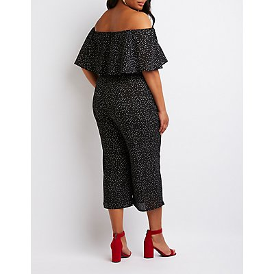 Plus Size Polka Dot Off The Shoulder Jumpsuit