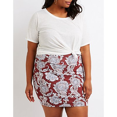 Plus Size Paisley Mini Skirt