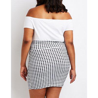 Plus Size Gingham Mini Skirt