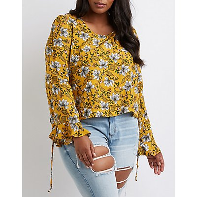 Plus Size Printed Lace Up Top
