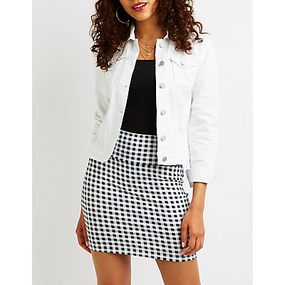Gingham Bodycon Mini Skirt by Charlotte Russe