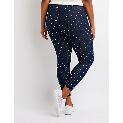 Plus Size Polka Dot Cotton Leggings