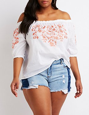 Plus Size Floral Embroidered Off-The-Shoulder Top