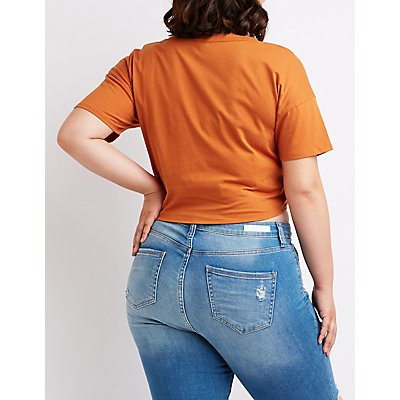 Plus Size Twist Front Tee