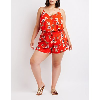 Plus Size Floral Smocked Shorts