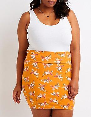 Plus Size Floral Mini Skirt