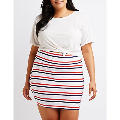 Plus Size Striped Bodycon Mini Skirt