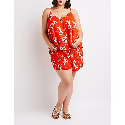 Plus Size Floral Layered Top