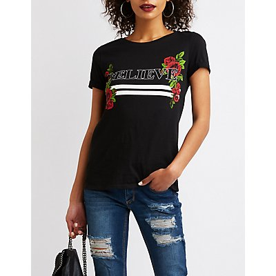 Believe Floral Graphic Tee