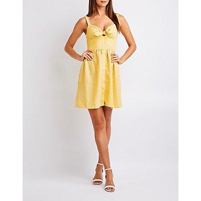 Striped Tie Front Sun Dress