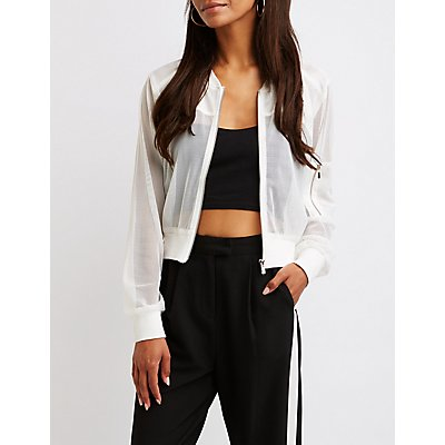 Mesh Bomber Jacket by Charlotte Russe
