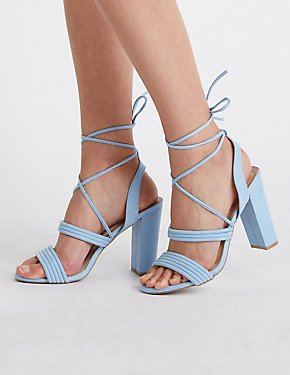Ankle Wrap Block Heel Sandals