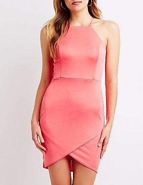 Bib Neck Bodycon Wrap Dress