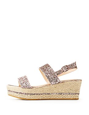 Bamboo Glitter Two-Piece Espadrille Wedge Sandals