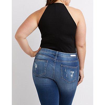 Plus Size Ribbed Zip-Up Bodysuit