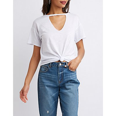 Cut-Out Neck Tee Shirt