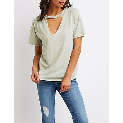 Cut-Out Neck Tee Shirt