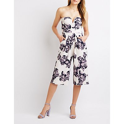 Notched Floral Strapless Jumpsuit