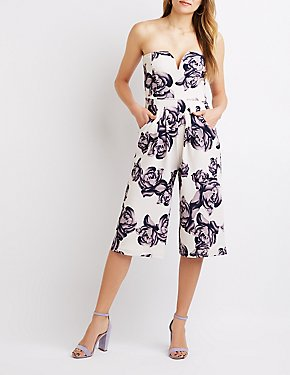 Notched Floral Strapless Jumpsuit