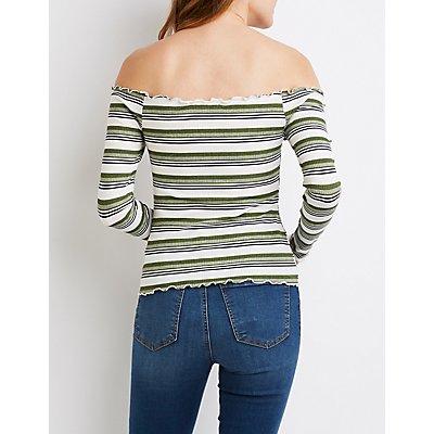 Striped Lettuce-Trim Off-The-Shoulder Top