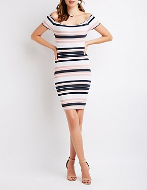 Ribbed Off The Shoulder Bodycon Dress