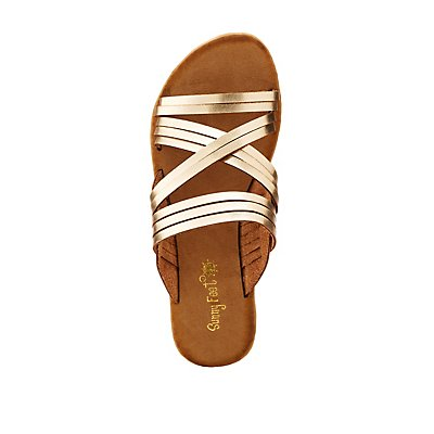 Metallic Criss Cross Slide Sandals