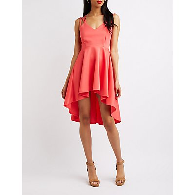 V-Neck Hi-Low Skater Dress