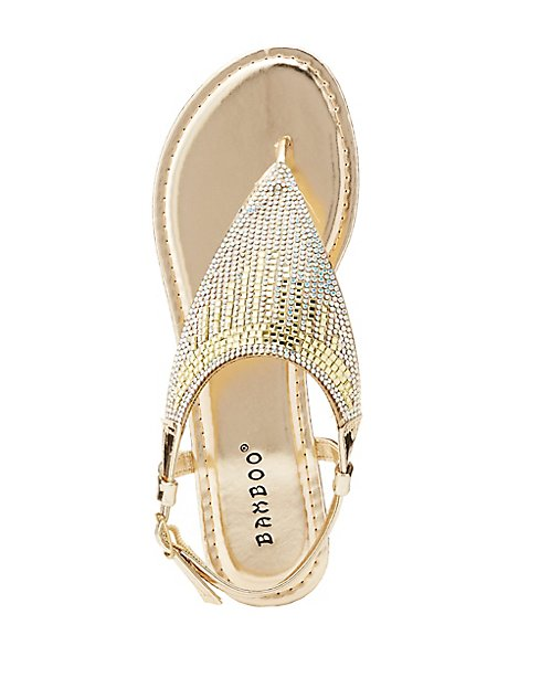 4b0a09934b Bamboo Metallic Crystal T-Strap Sandals | Charlotte Russe