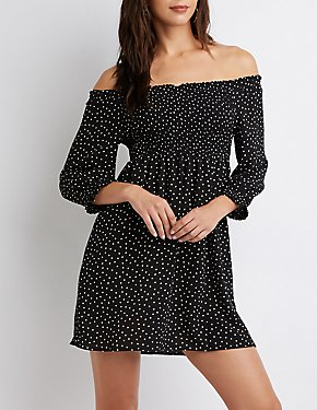 Polka Dot Off-The-Shoulder Dress