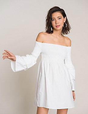 Smocked Off-The-Shoulder Dress