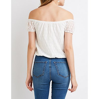 Lace Off-The-Shoulder Tie-Front Top