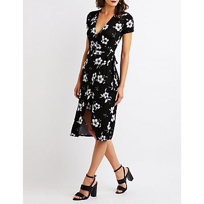 Floral Wrap Tie Midi Dress
