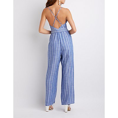 Strappy Striped Jumpsuit