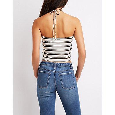 Striped Crochet Crop Top