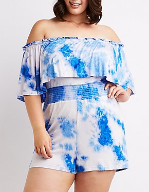 Plus Size Tie Dye Off The Shoulder Romper
