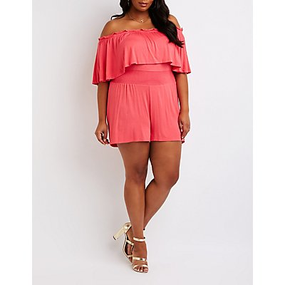 Plus Size Smocked Off The Shoulder Romper