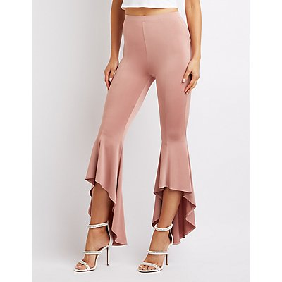 Satin Flare Tiered Pants