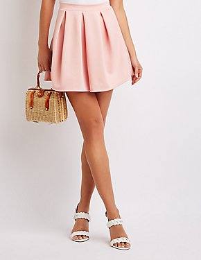 Pleated Scuba Skater Skirt