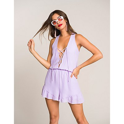 Lace-Up Open-Back Romper
