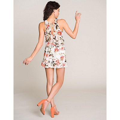 Floral Lace-Up Open-Back Romper