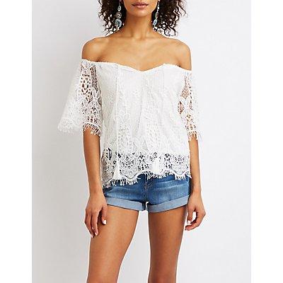 Floral Lace Off-The-Shoulder Top