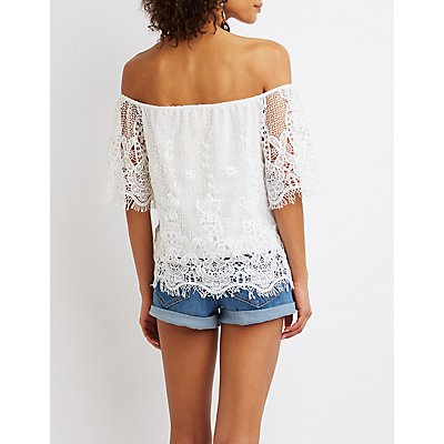 Floral Lace Off-The-Shoulder Top