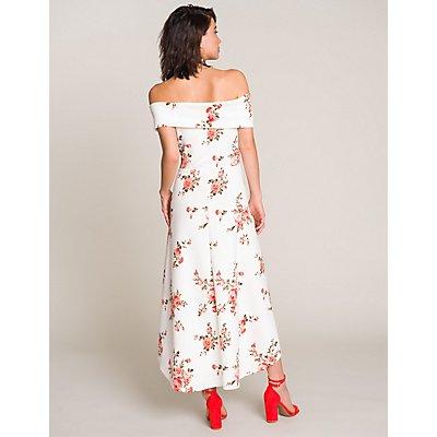 Floral Off The Shoulder High-Low Dress