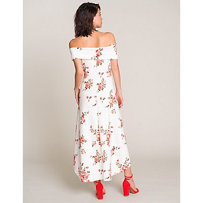Floral Off-The-Shoulder High-Low Dress