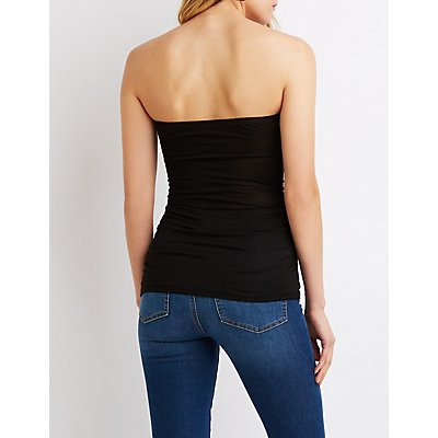 Ruched Knotted Strapless Top