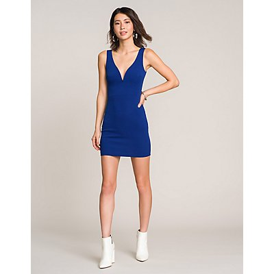 Notched Bodycon Dress