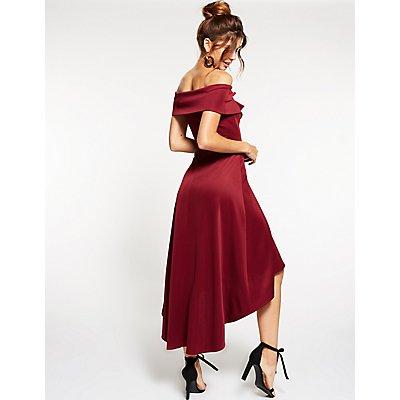 Off-The-Shoulder High-Low Dress