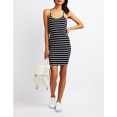 Striped Ribbed Bodycon Dress