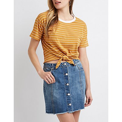 Striped Tie Front Ringer Tee